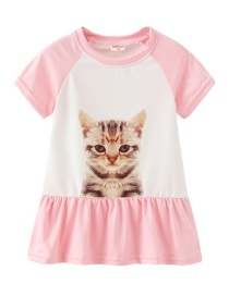 Fashion Pink Cartoon Cat Print Children's Dress