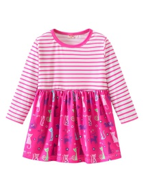Fashion Rose Red Striped Print Stitching Children's Dress