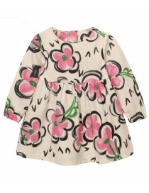 Fashion Beige Round Neck Flower Print Children's Princess Dress