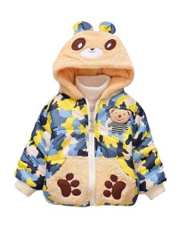 Fashion Yellow Cartoon Bear Camouflage Quilted Plus Velvet Children's Coat