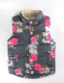 Fashion Dark Gray Plus Velvet Printed Children's Cotton Vest