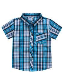 Fashion Sky Blue Plaid Children's Shirt