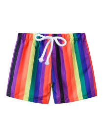 Fashion Colored Vertical Stripes Printed Lace-up Children's Beach Pants