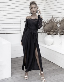 Fashion Black Off-the-shoulder Collar With Lace Split Wide-leg Pants