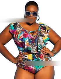 Fashion Green High-waist Ruffled Split Swimsuit