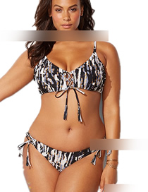 Fashion Black And White Printed Tether Split Swimsuit