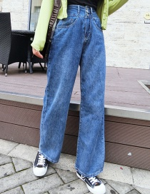 Fashion Blue High Waist Elasticated Wide-leg Jeans