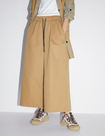 Fashion Khaki Lace-up Wide-leg Pants