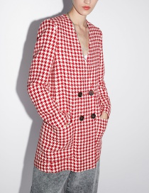 Fashion Red Houndstooth Coat