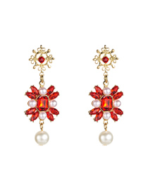 Fashion Red Multi-layer Alloy Diamond-encrusted Floral Stud Earrings