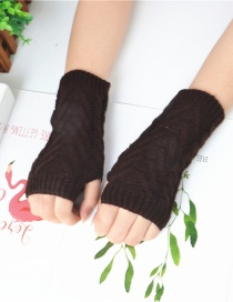 Fashion Brown Half Finger Wool Gloves