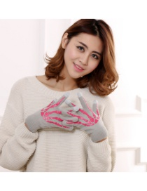 Fashion Light Gray Pink Ghost Claw Touch Screen Skull Halloween Wool Gloves