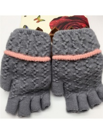 Fashion Gray Half Finger Knit Touch Screen Gloves