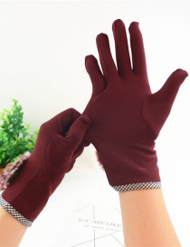 Fashion Red Hair Ball Thin Brushed Five-finger Gloves
