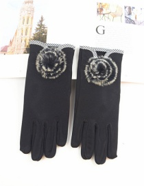 Fashion Black Hair Ball Thin Brushed Five-finger Gloves