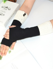 Fashion Black + White Knitting Half Finger Color Matching Arm Sleeve