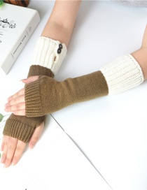 Fashion Khaki + White Knitting Half Finger Color Matching Arm Sleeve