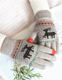 Fashion Khaki Fawn Christmas Plus Velvet Touch Screen Knitted Woolen Gloves