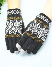 Fashion Dark Gray Snowflake Touch Screen Brushed Mittens