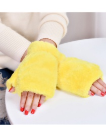 Fashion Yellow Plush Thick Half-finger Finger-knit Gloves