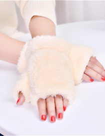 Fashion Beige Plush Thick Half-finger Finger-knit Gloves