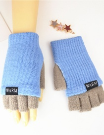 Fashion Sky Blue + Medium Gray Knitted Wool Letter Double Color Matching Mitt
