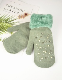 Fashion Green Plush Knit Point Diamond Mittens