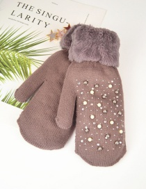 Fashion Brown Plush Knit Point Diamond Mittens