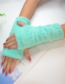 Fashion Mint Green Half Finger Plush Gloves