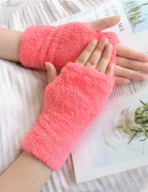 Fashion Rose Red Plush Half Finger Bear Arm Sleeve