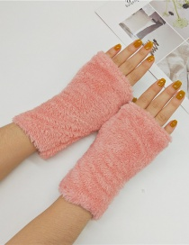 Fashion Pink Plush Half Finger Gloves
