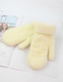 Fashion Creamy-white Imitation Bristles And Velvet Gloves