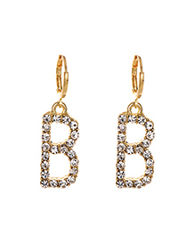 Fashion B White Alloy Diamond Stud Earrings