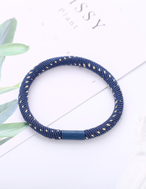 Fashion Blue Inlaid Gold Wire High Elastic Jointless Hair Rope