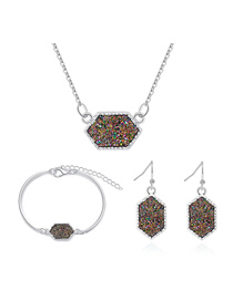 Fashion Silver + Purple Cluster Alloy Crystal Cluster Necklace Earring Bracelet Set