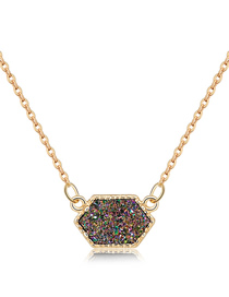 Fashion Silver + Brown Cluster Alloy Crystal Cluster Diamond Necklace