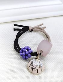 Fashion Purple Pearl Shell High Elastic Two-in-one Color Matching Hair Ring