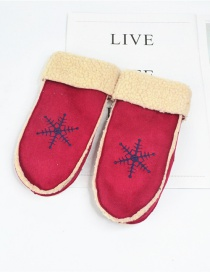 Fashion Red Wine Snowflake Suede Halter Mittens