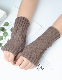 Fashion Khaki Small Square Wool Knitted Half Finger Gloves