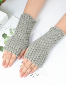 Fashion Gray Knitted Mesh Fingerless Short Gloves