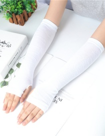 Fashion Pure White Knitting Half Finger Polyester Cotton Thin Arm Sleeve