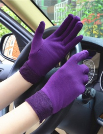 Fashion Purple Wide-brimmed Lace-brushed Five-finger Gloves