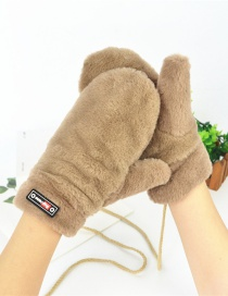 Fashion Khaki Halter Plush Badge Mittens