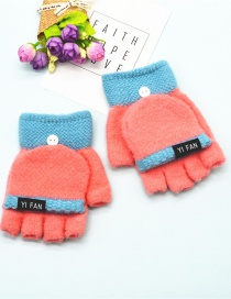 Fashion Pink Letter Clap Color Matching Five-finger Gloves