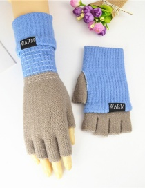Fashion Light Blue Ash Double-layer Two-knit Knitted Gloves