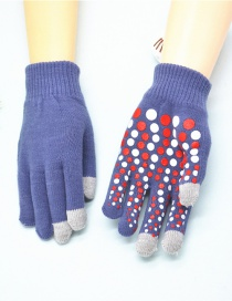 Fashion Violet Blue Touch Screen Single Layer Knitted Non-slip Rubber Gloves