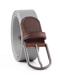 Fashion Light Gray Canvas Buckle Belt For Canvas