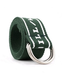 Fashion Army Green Double Buckle Nylon Canvas Belt