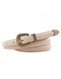 Fashion Beige Pin Buckle Carved Faux Leather Belt