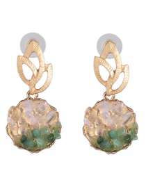 Fashion Green Natural Stone Alloy Earrings